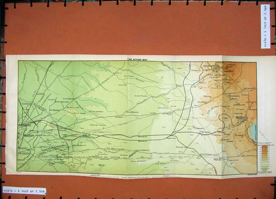 Print 1899 Colour Map Rome Appian Way Frascati Marino Italy 140D165 Old Original