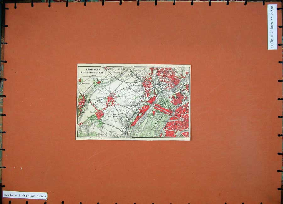 Print 1924 Colour Map Paris France Asnieres Rueil Bougival 111D166 Old Original