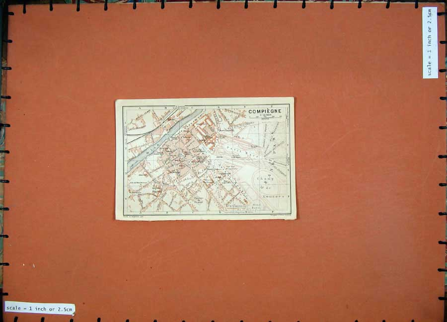 Print 1924 Colour Map Paris France Street Plan Compiegne Oise 120D166 Old Original