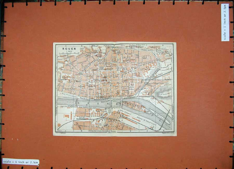 Print 1924 Colour Map France Street Plan Rouen River Seine 139D166 Old Original