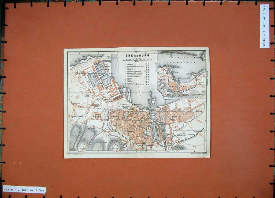 Print 1924 Colour Map France Street Plan Cherbourg Bassin 141D166 Old Original