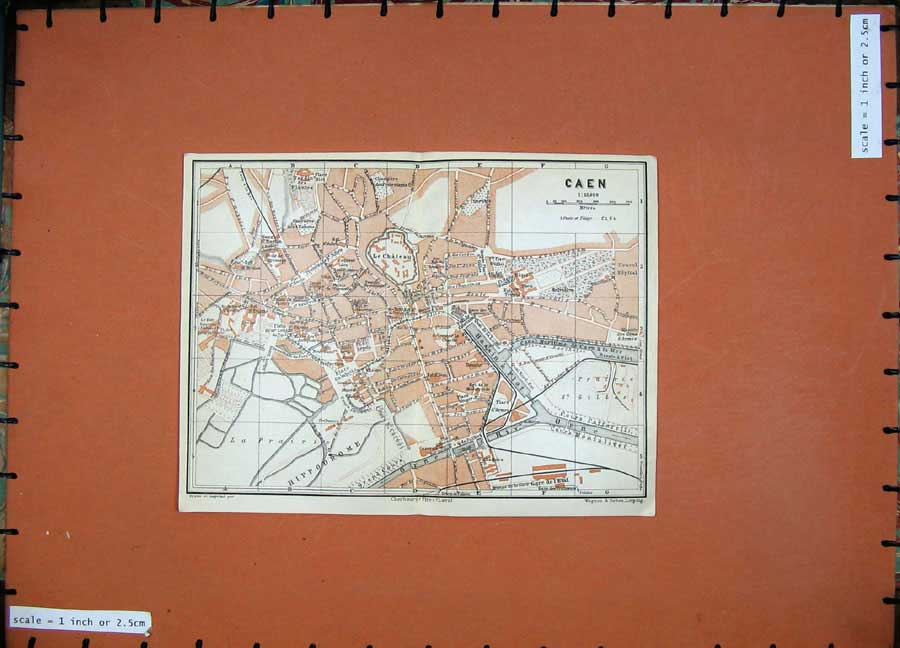 Print 1924 Colour Map France Street Plan Caen Hippodrome Flot 142D166 Old Original
