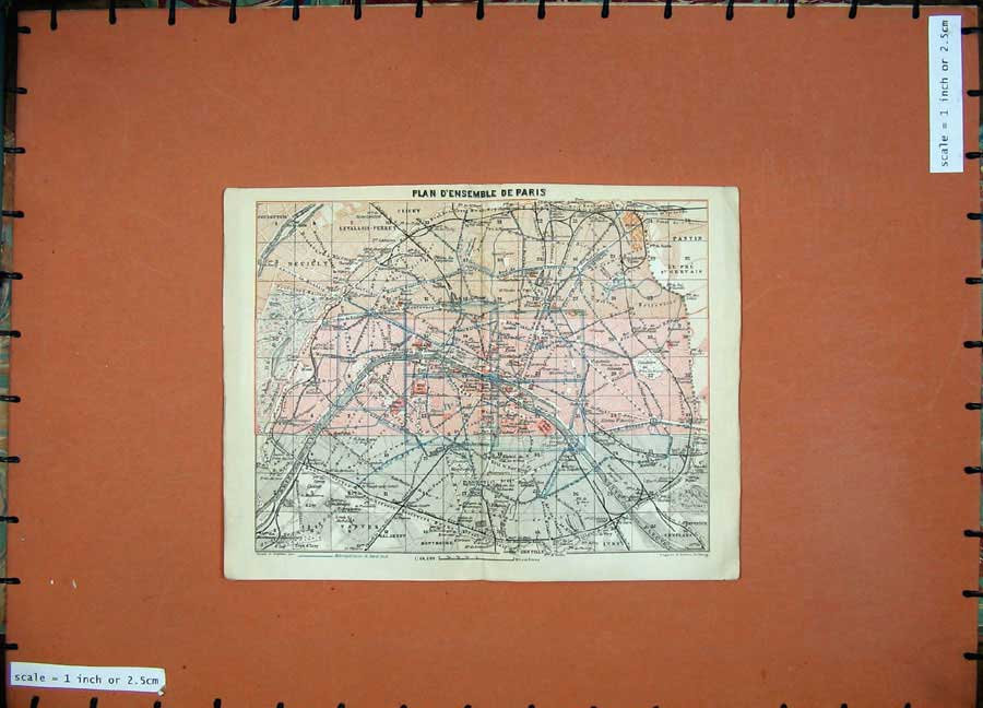 Print 1924 Colour Map France Plan D'Ensemble Paris Clichy 143D166 Old Original