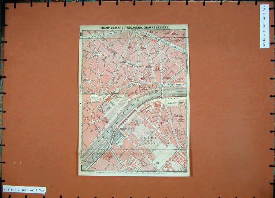 Print 1924 Map France Plan Champ Des Mars Elysees Trocadero 144D166 Old Original