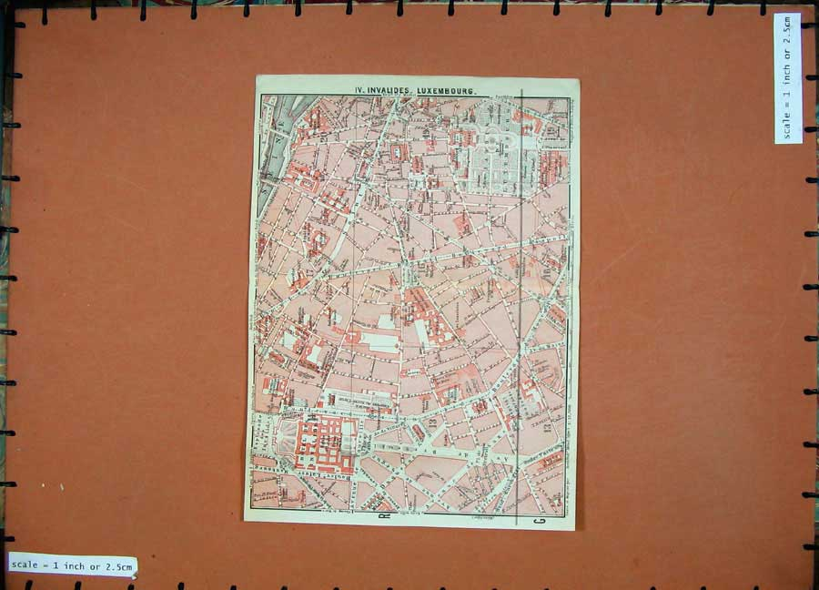Print 1924 Colour Map Paris France Plan Invlaides Luxembourg 146D166 Old Original
