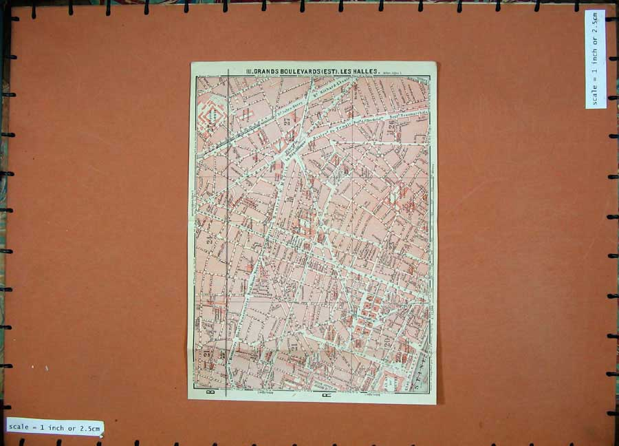 Print 1924 Colour Map Paris France Plan Boulevards Les Halles 147D166 Old Original