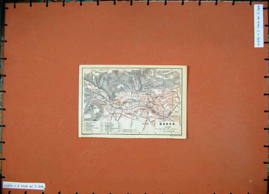 Print 1911 Colour Map Switzerland Street Plan Baden Alland 109D167 Old Original