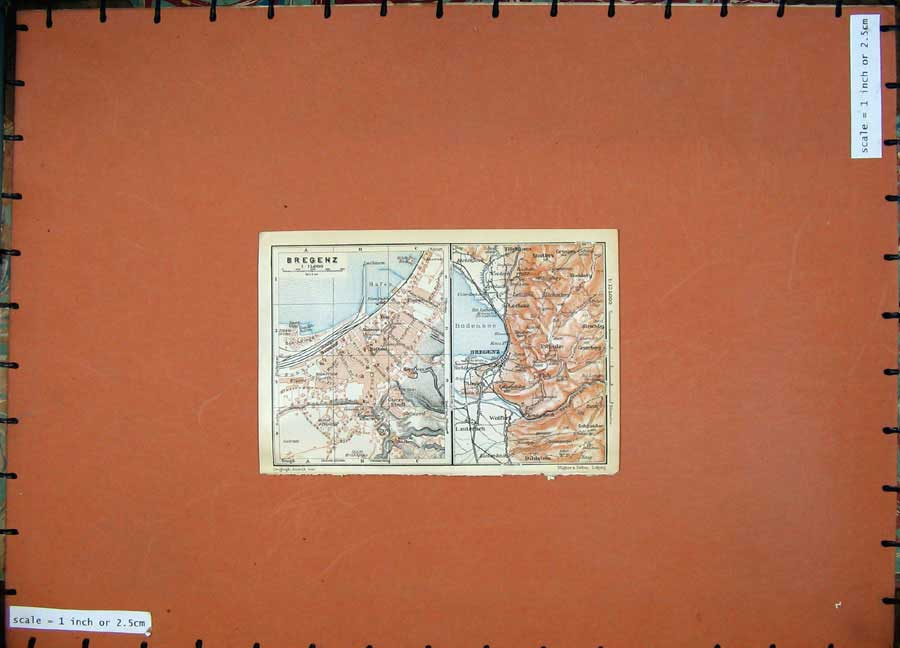 Print 1911 Colour Map Austria Street Plan Bregenz Bildstein 115D167 Old Original