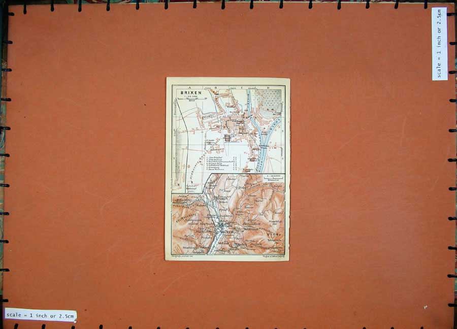 Print 1911 Colour Map Austria Street Plan Brixen Neustift 116D167 Old Original