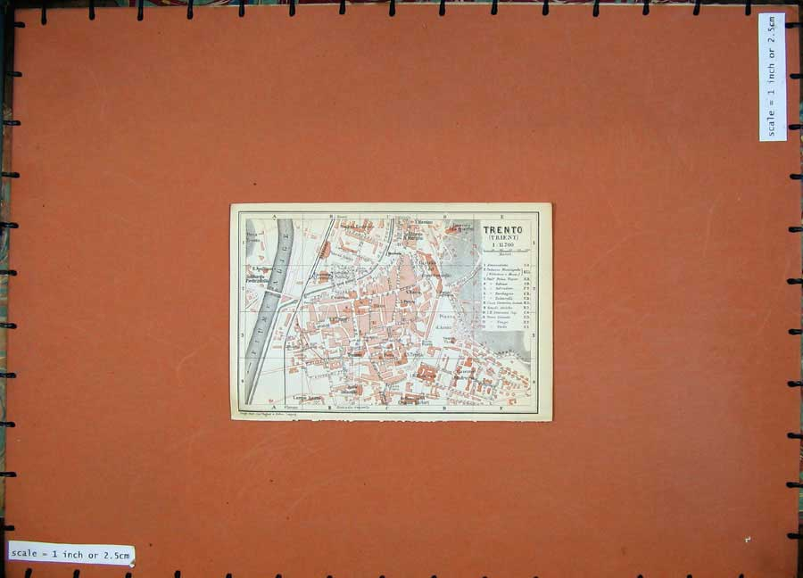 Print 1911 Colour Map Austria Street Plan Trento Adige River 117D167 Old Original