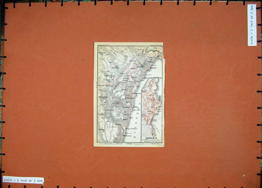 Print 1911 Colour Map Austria Street Plan Abbazia Lovrana 125D167 Old Original