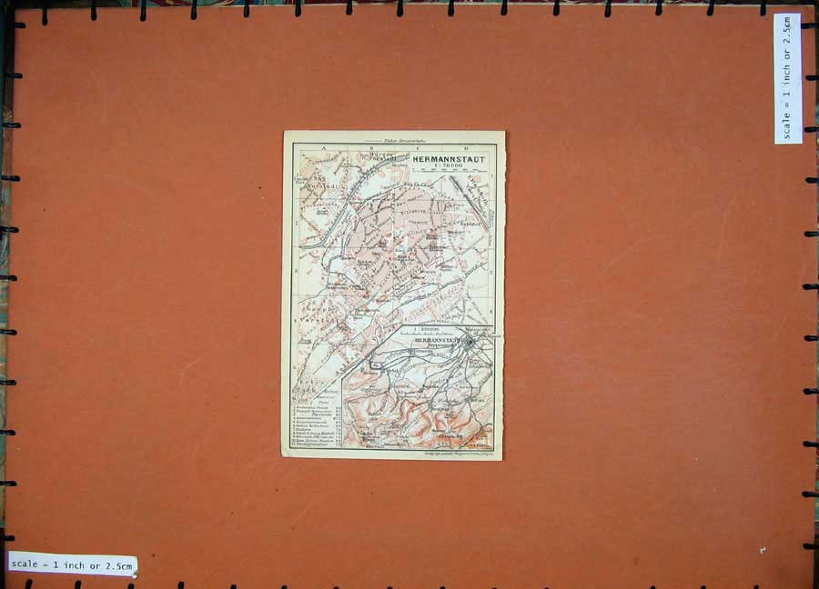 Print 1911 Colour Map Austria Street Plan Hermannstadt Gotzen 141D167 Old Original