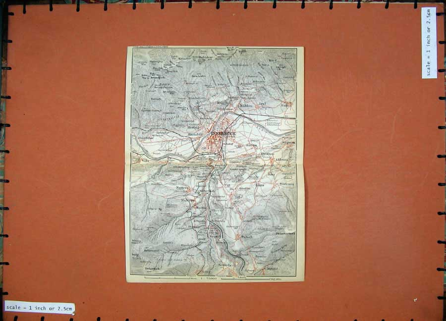 Print 1911 Colour Map Austria Street Plan Innsbruck Schonberg 152D167 Old Original