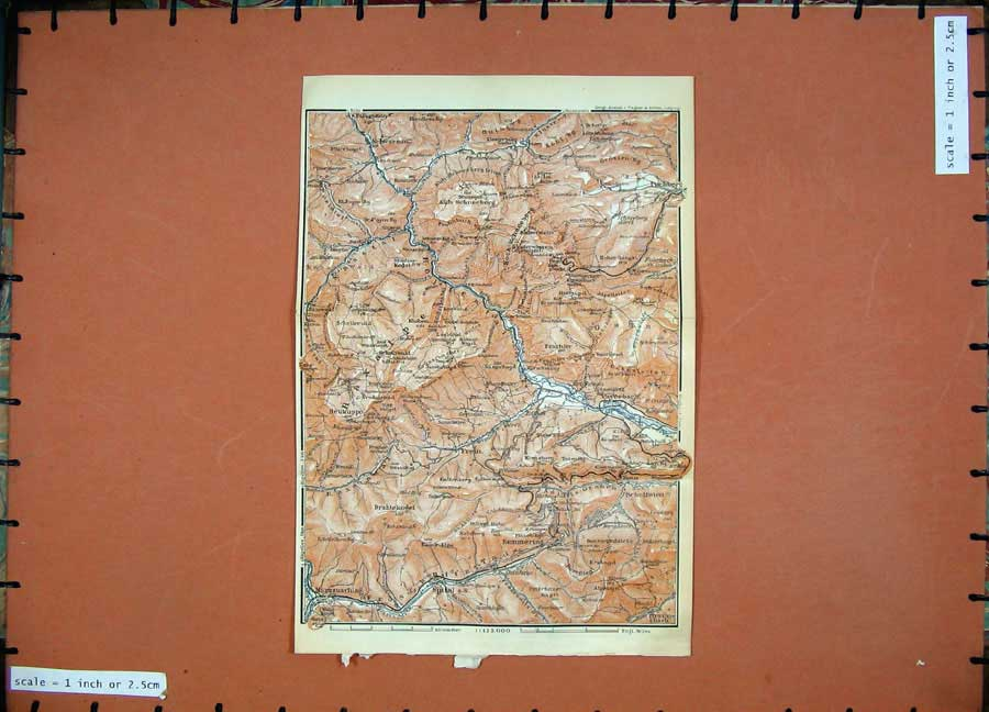 Print 1911 Colour Map Austria Puchberg Schottwien Paverbach 176D167 Old Original