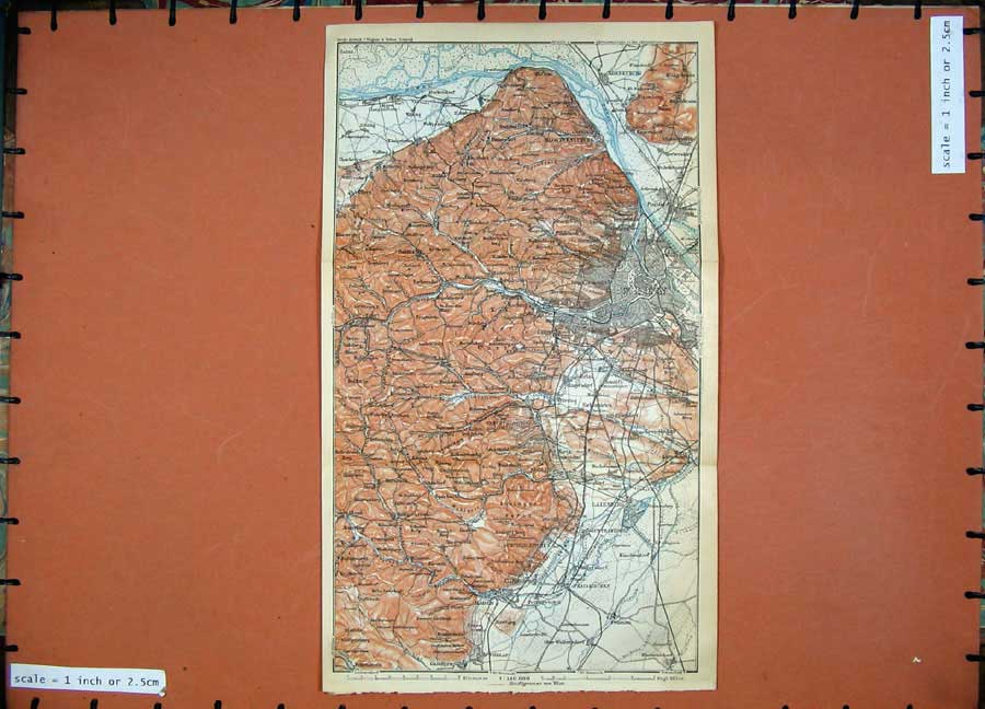 Print 1911 Colour Map Austria Wien Baden Korneuburg Modling 180D167 Old Original