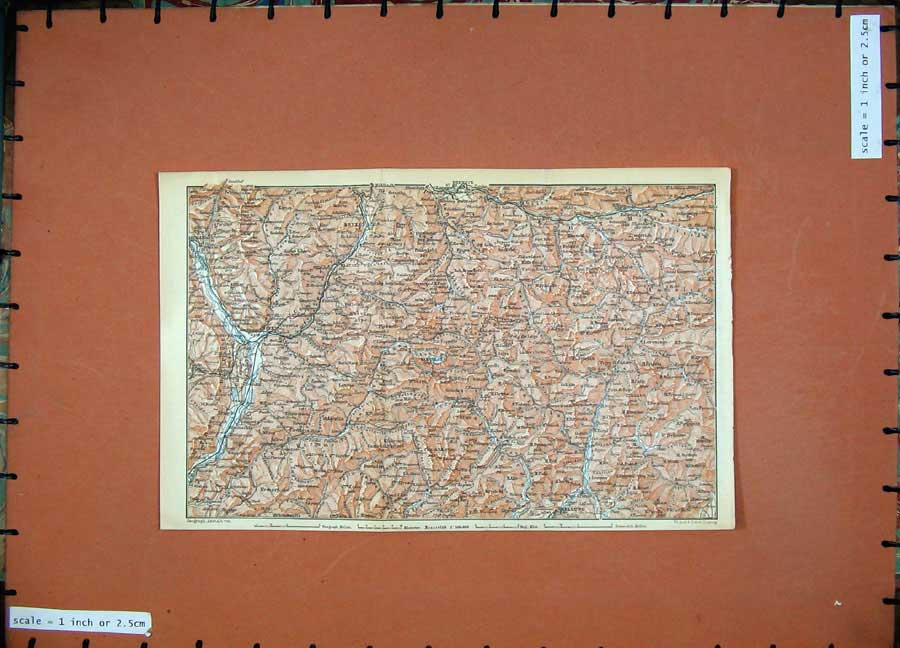 Print 1911 Colour Map Bozen Bruneck Austria Hungary Belluno 182D167 Old Original
