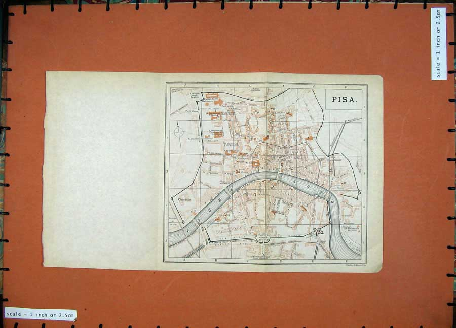 Print 1900 Colour Map Italy Street Plan Pisa Arno River Fiume 112D168 Old Original