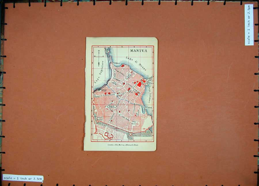 Print 1901 Colour Map Italy Street Plan Mantua Superiore 104D169 Old Original