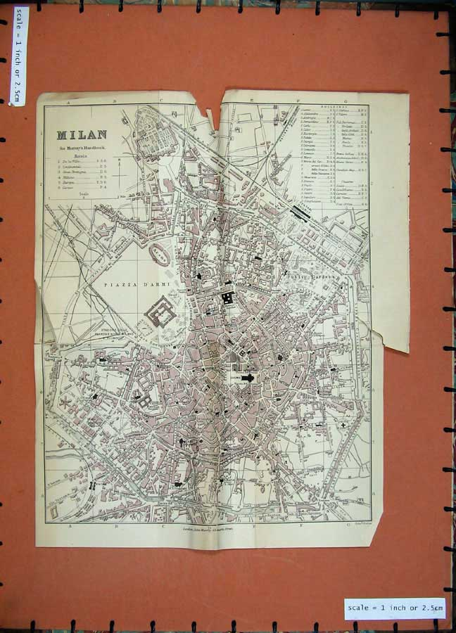 Print 1901 Colour Map Italy Street Plan Milan Piazza D'Armi 124D169 Old Original