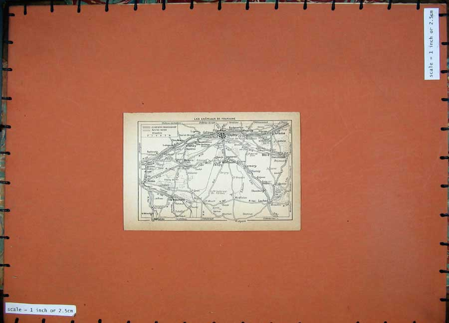 Print 1934 Map France Tours Loches Chateaux Touraine 107D171 Old Original