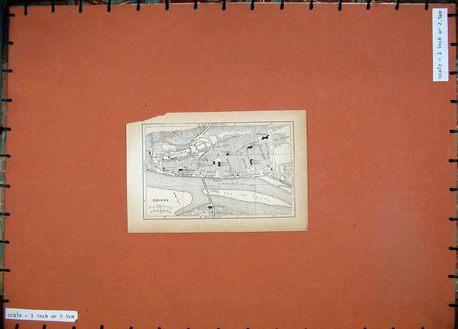 Print 1934 Map France Street Plan Chinon Vienne River 110D171 Old Original