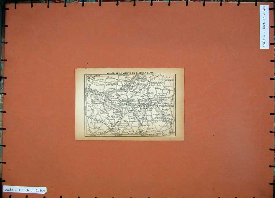 Print 1934 Map France Chinon Richelieu Loudun Dange 111D171 Old Original
