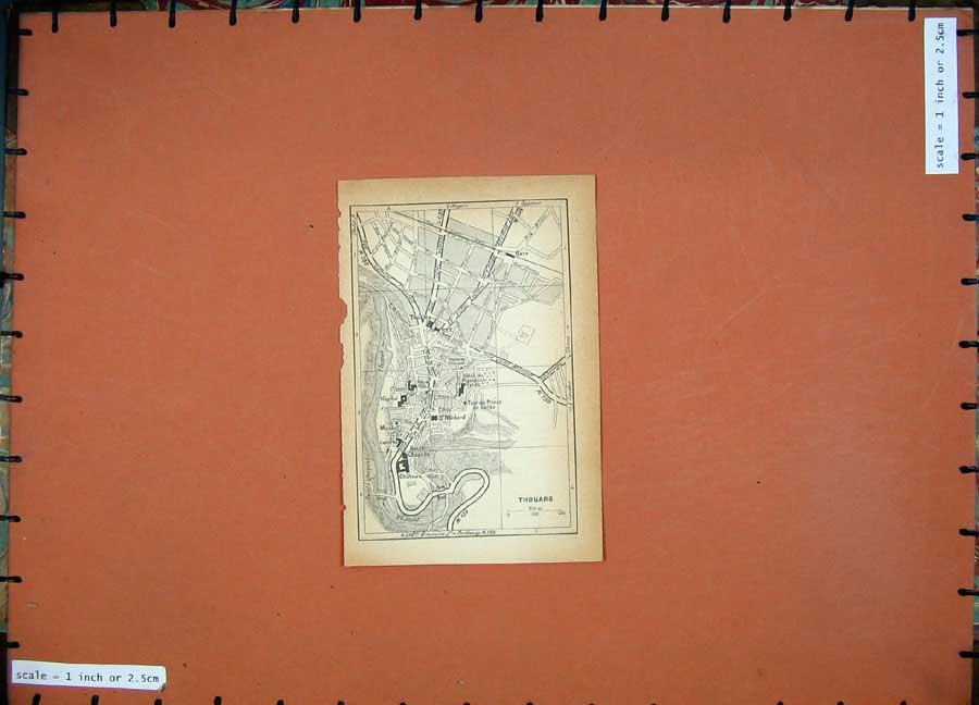 Print 1934 Colour Map France Street Plan Thouars St Medard 113D171 Old Original