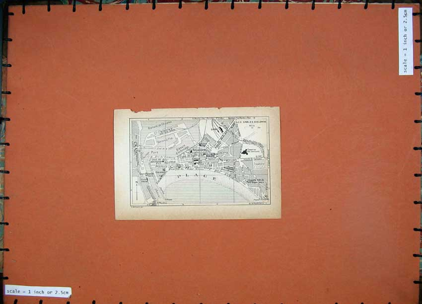 Print 1934 Map France Street Plan Les Sables D'Olonne 117D171 Old Original
