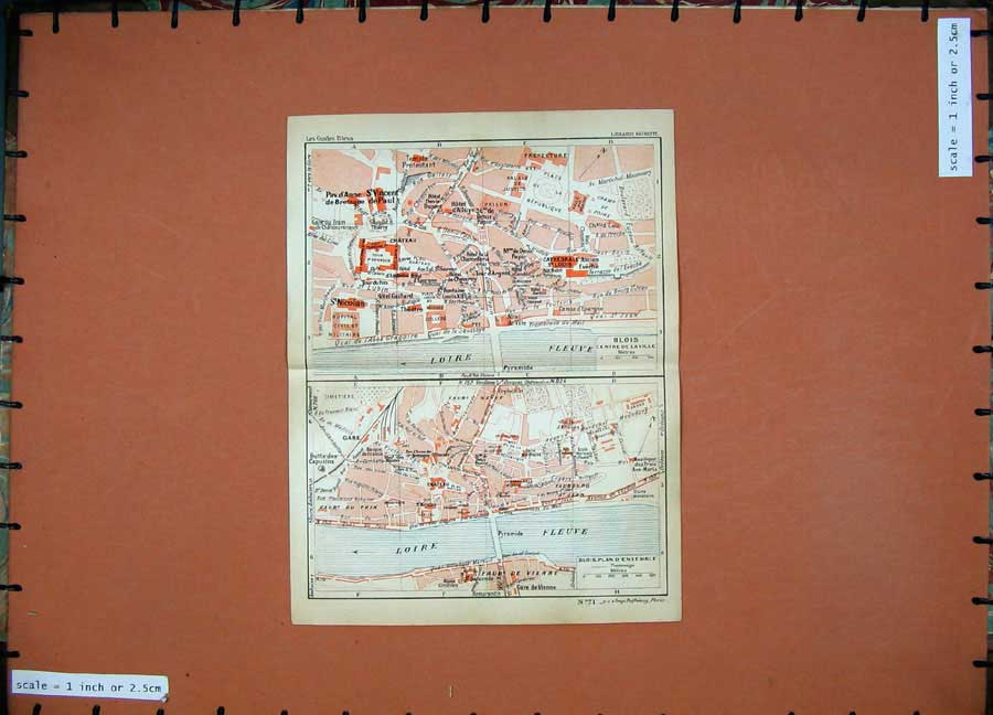Print 1934 Colour Map France Street Plan Blois Loire Fleuve 131D171 Old Original