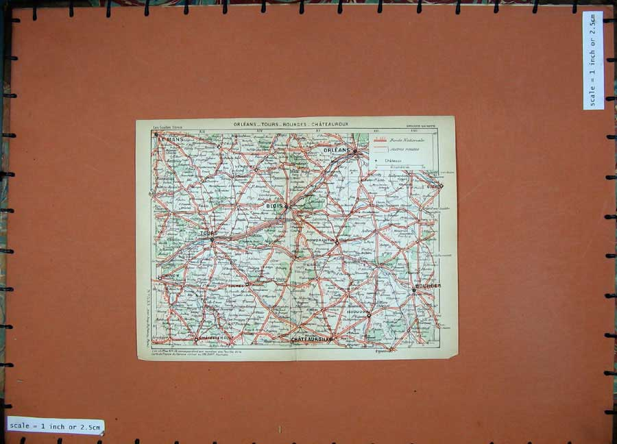 Print 1934 Colour Map France Orleans Blois Tours Bourges 132D171 Old Original