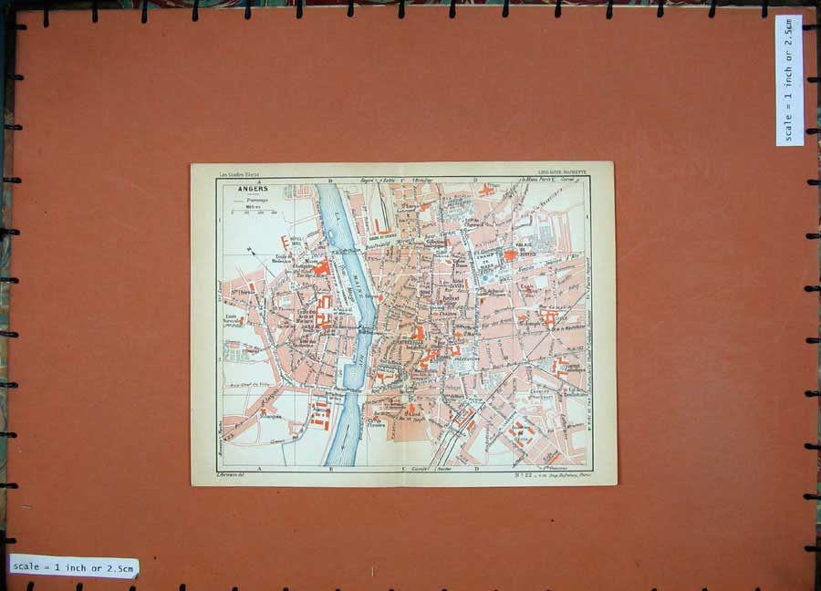 Print 1934 Colour Map France Street Plan Angers Maine River 134D171 Old Original