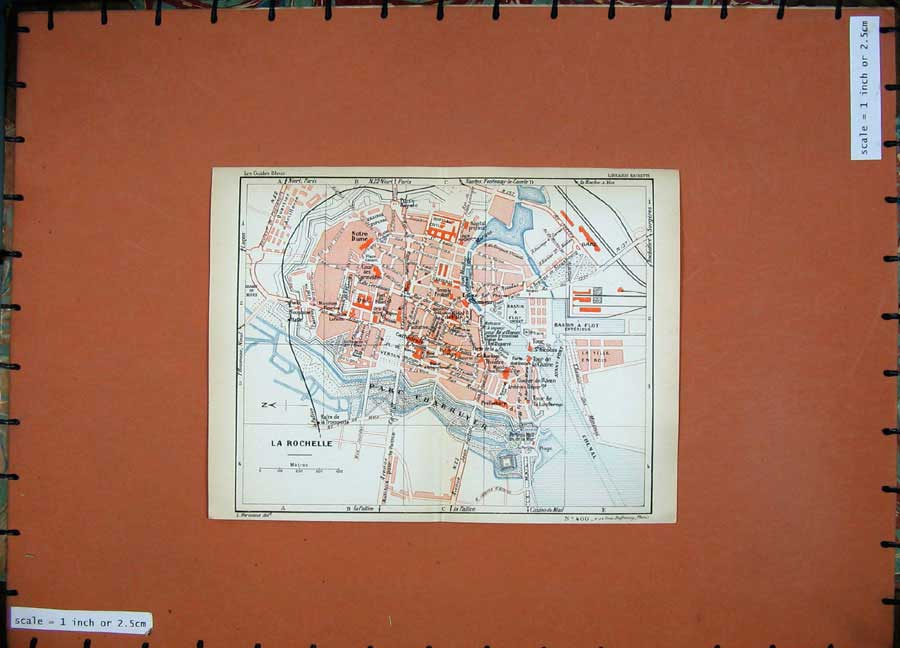Print 1934 Colour Map France Street Plan Rochelle Notre Dame 136D171 Old Original