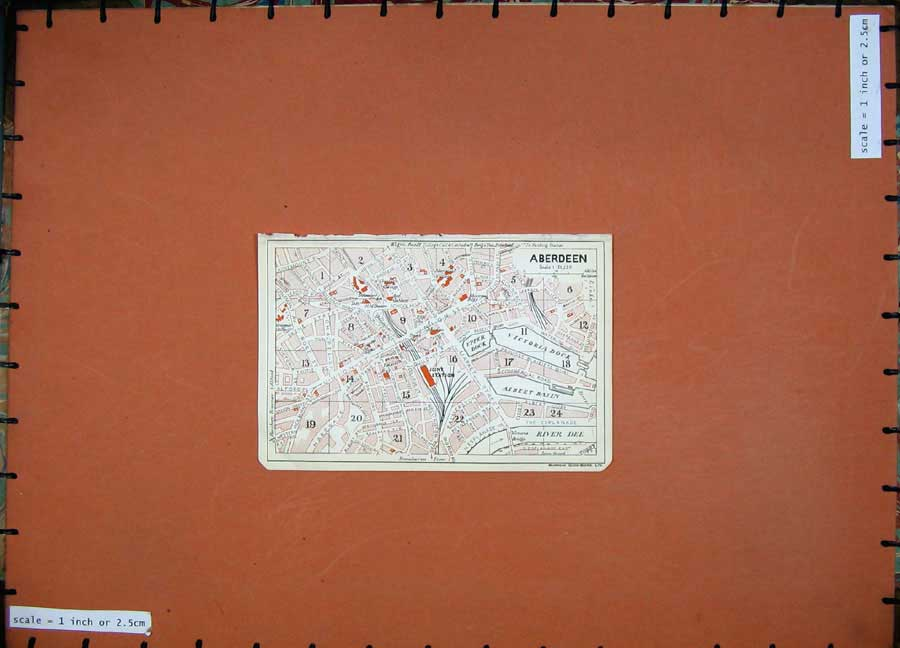 Print 1927 Colour Map Scotland Street Plan Aberdeen River Dee 110Ad172 Old Original
