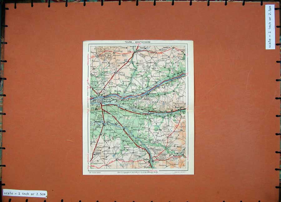 Print 1952 Colour Map France Tours Loches Amboise Montresor 114D173 Old Original
