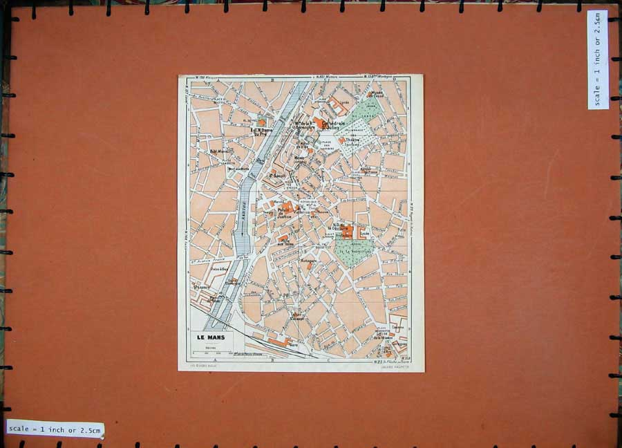 Print 1952 Colour Map France Street Plan Le Mans Sarthe River 117D173 Old Original