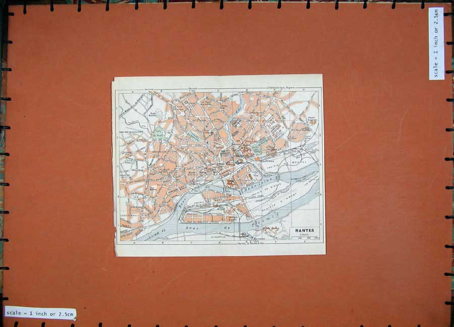 Print 1952 Colour Map France Street Plan Nantes Bras Pirmil 120D173 Old Original