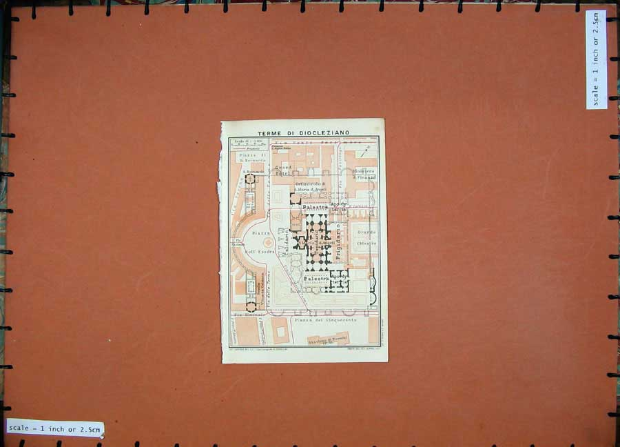 Print 1925 Colour Map Italy Plan Terme Di Diocleziano Piazza 103D174 Old Original
