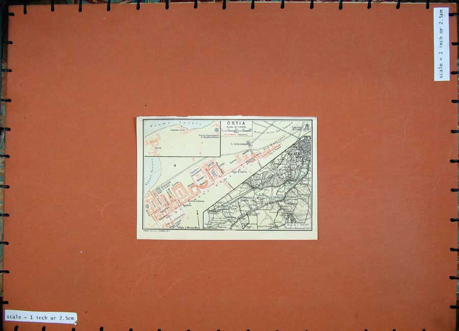 Print 1925 Colour Map Italy Street Plan Roma Ostia Tevere 106D174 Old Original