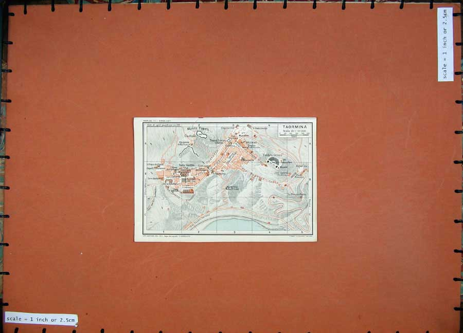 Print 1925 Colour Map Italy Street Plan Taormina Monte Tauro 110D174 Old Original
