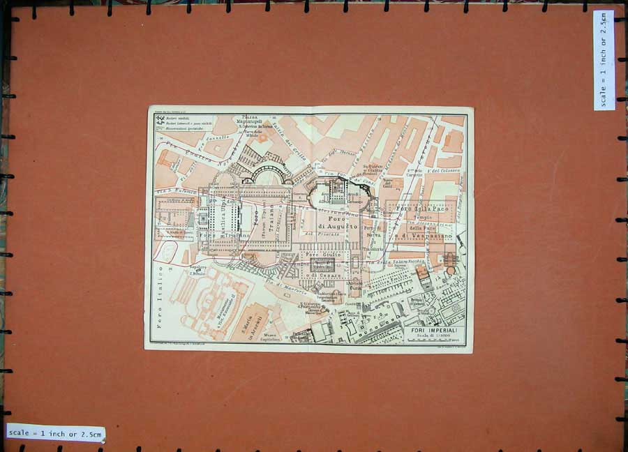 Print 1925 Colour Map Italy Plan Fori Imperiali Foro Basilica 113D174 Old Original
