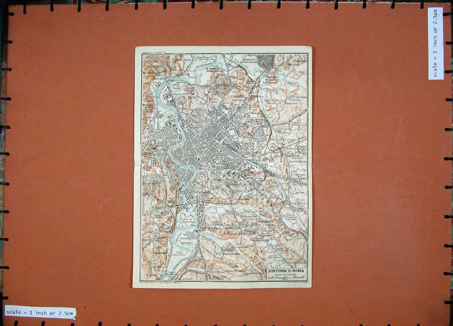 Print 1925 Colour Map Italy Plan Dintorni Roma Palatino Mario 117D174 Old Original