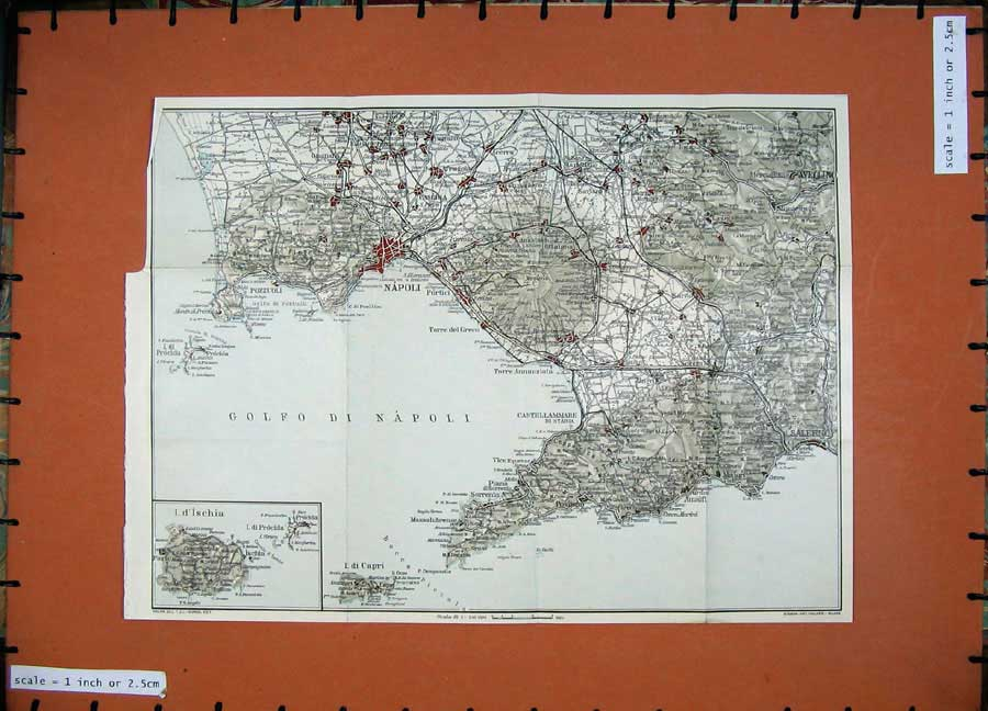 Print 1925 Colour Map Italy Napoli Capri D'Ischia Pozzuoli 138D174 Old Original