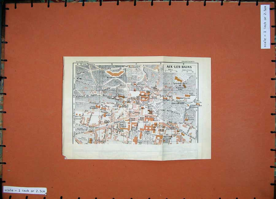 Print 1926 Colour Map France Street Plan Aix-Les-Bains Palace 102D175 Old Original
