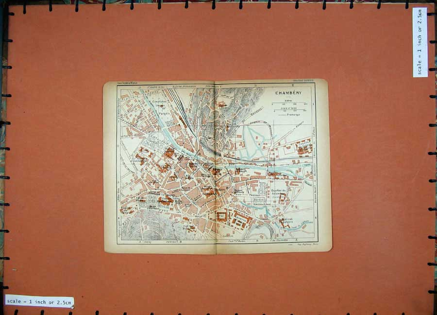 Print 1926 Colour Map France Street Plan Chambery Chateau 104D175 Old Original