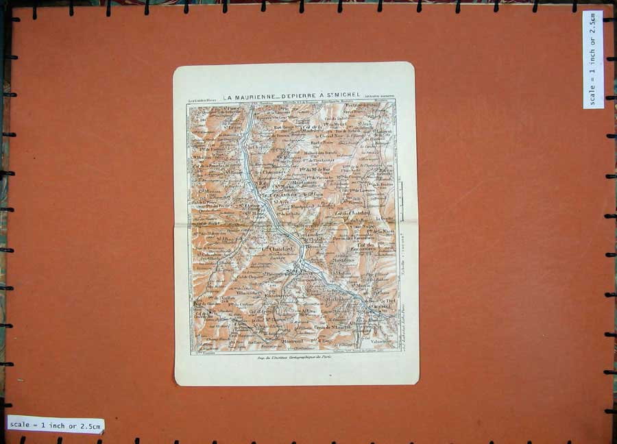 Print 1926 Colour Map France Alps Chatelard Michel Maurienne 105D175 Old Original