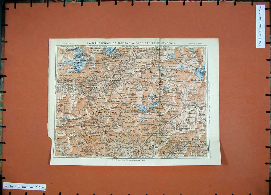 Print 1926 Colour Map France Alps Modane Maurienne Mont Cenis 107D175 Old Original