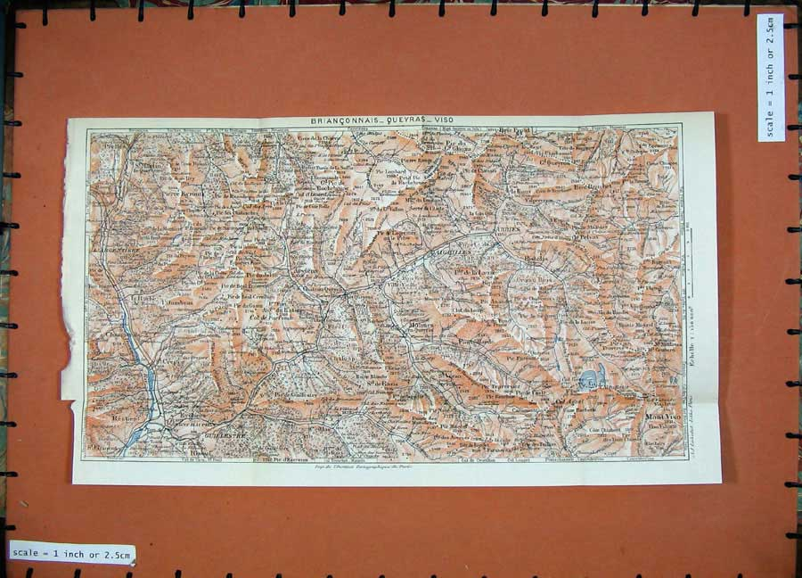 Print 1926 Colour Map France Alps Mont Viso Daigeilles Glaiza 121D175 Old Original