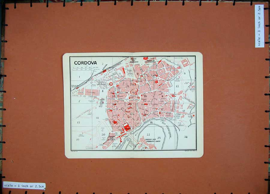 Print 1929 Colour Map Spain Street Plan Cordova Guadalquivir 111D176 Old Original