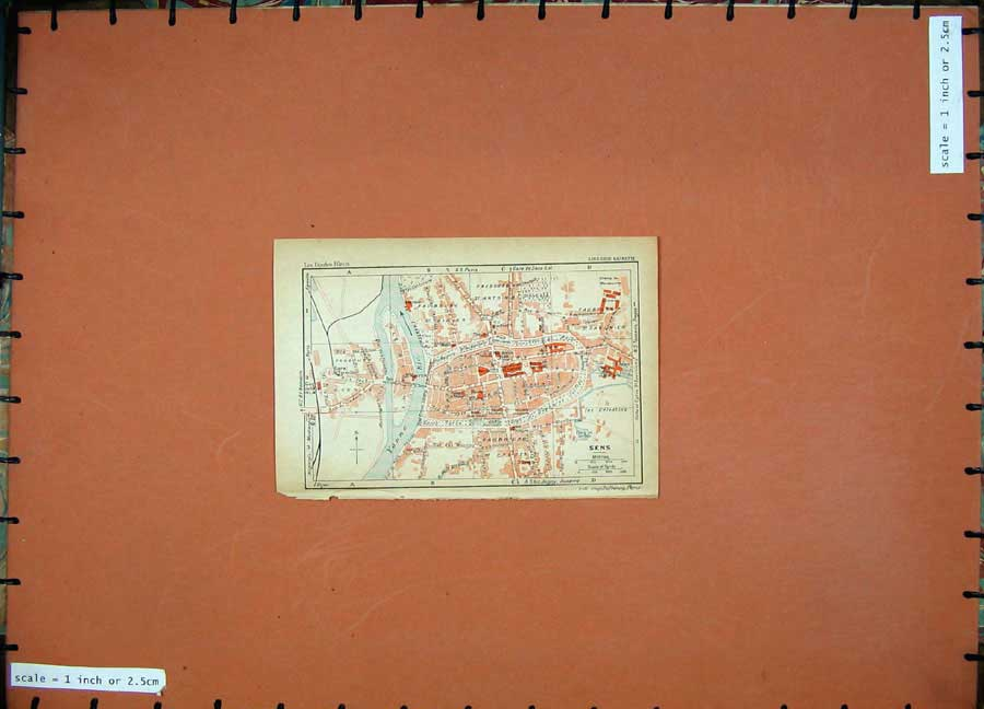 Print 1931 Colour Map France Street Plan Sens River Yonne 102D178 Old Original