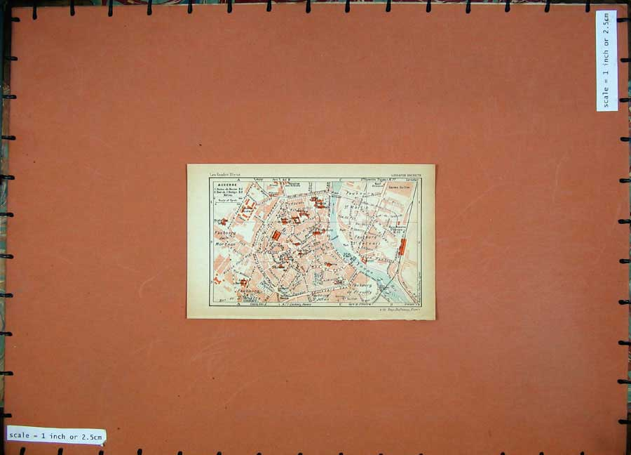 Print 1931 Colour Map France Street Plan Auxerre River Yonne 103D178 Old Original